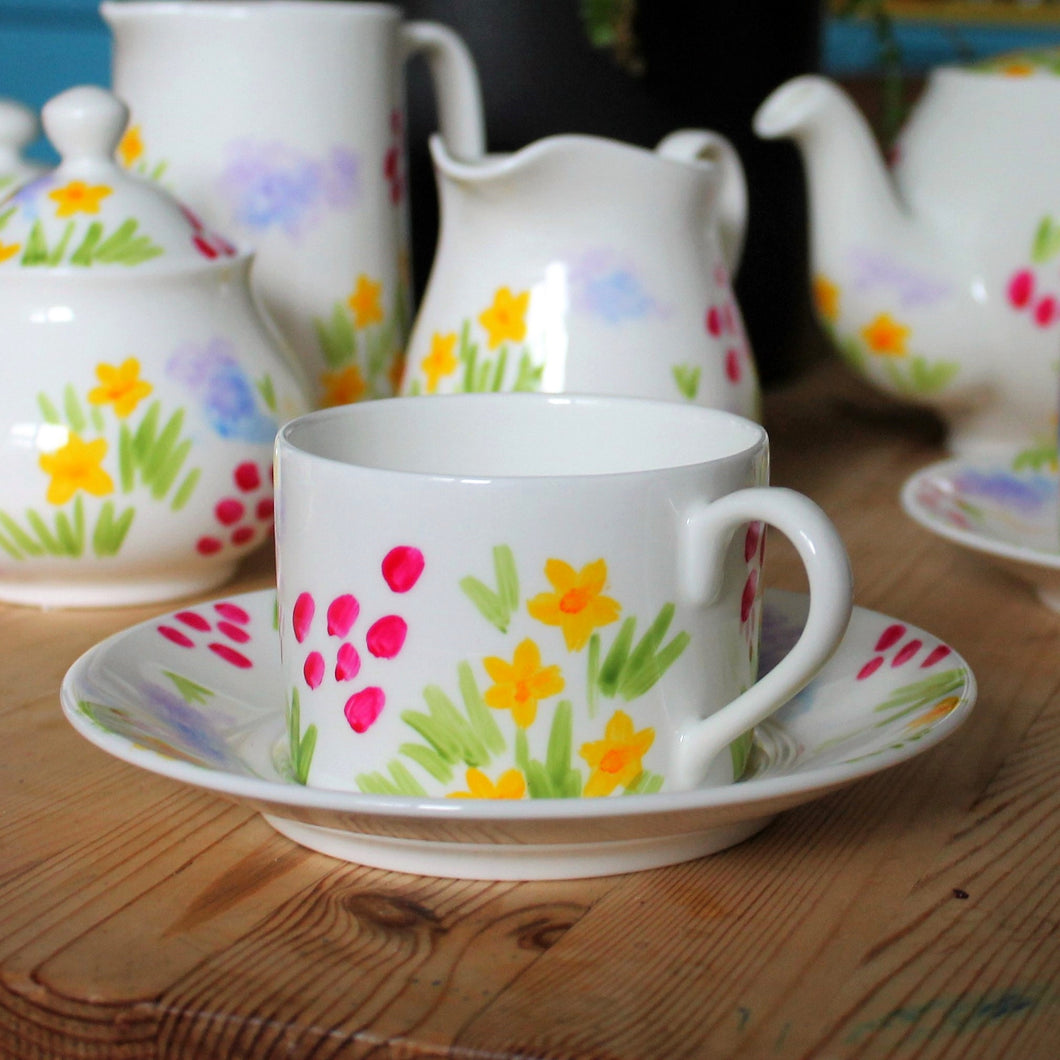 Hand painted floral teacup and saucer hand painted fine china by Laura Lee Designs Cornwall