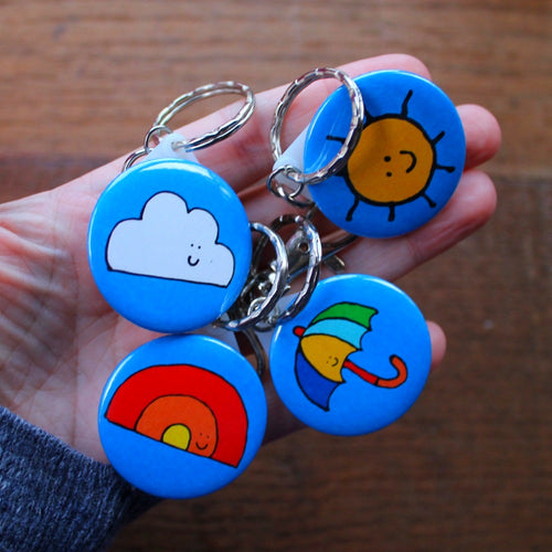 Merry weather keryings by Laura lee designs rainbow cloud sun and umbrella