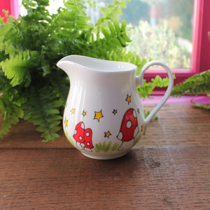 Mushroom milk jug hand painted jug with toadstools and stars