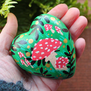 Fly Agaric toadstool heart hand painted by Laura Lee Designs
