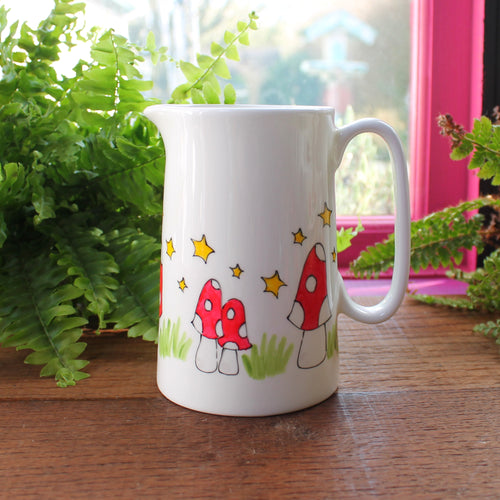 Mushroom gravy jug red spotty mushrooms and stars by Laura Lee Designs