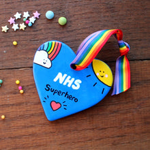 Load image into Gallery viewer, Rainbow and sunshine NHS superhero heart by Laura Lee Designs