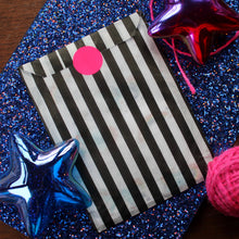 Load image into Gallery viewer, Gift wrap bag black and white stripe with neon sticker Laura Lee Designs