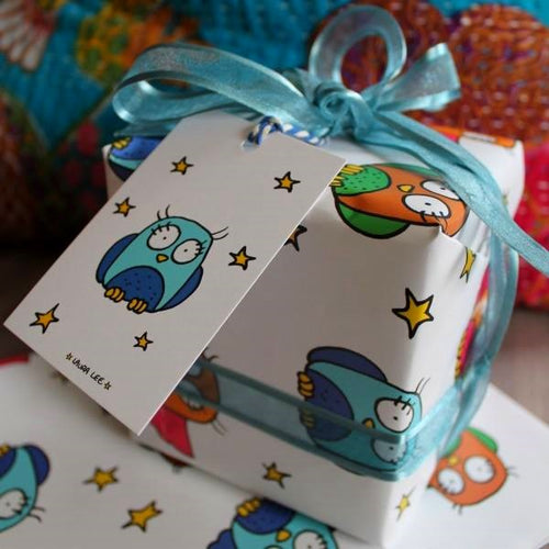 Owls and stars colourful gift wrapping paper pack with tags by Laura lee Designs in Cornwall