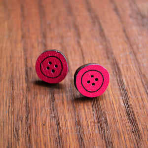Pink wooden button studs by Laura Lee designs