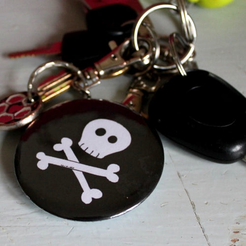 Goth skull bottle opener keyring by Laura Lee Designs Cornwall