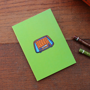 Vintage radio note book in green by Laura Lee Designs