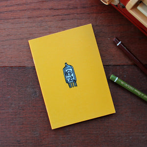 Vintage radio valve notebook in bright yellow by Laura Lee Designs
