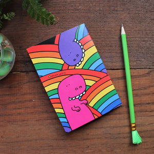 Rainbow dinosaurs colourful stationery from Laura Lee Designs