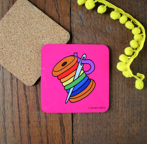 Sewing bobbin coaster colourful pink coaster sewing gift by Laura Lee designs Cornwall useful gifts for crafters