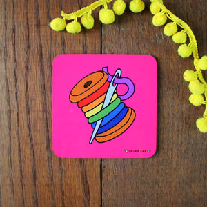 Sewing coaster in pink with rainbow thread gift for sewer by Laura Lee Designs Cornwall