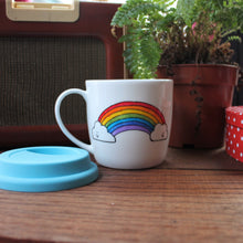 Load image into Gallery viewer, Rainbow mental health mug with blue silicone lid hand painted by Laura Lee Designs in Cornwall