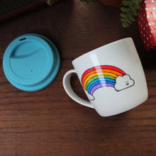 Load image into Gallery viewer, Anti anxiety and depression anti spill lidded mug hand painted rainbow Laura Lee Designs Cornwall