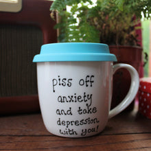 Load image into Gallery viewer, Mental health mug with colourful silicone lid hand painted by Laura Lee Designs Cornwall