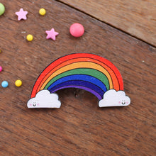Load image into Gallery viewer, Rainbow Brooch - Wooden - Love - Pride - Friendship