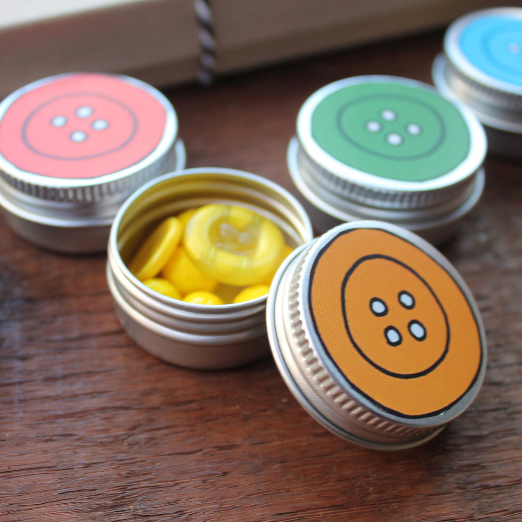 Rainbow tin set button tins by Laura Lee Designs