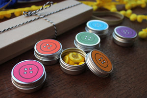 Rainbow button tin set sewing storage by Laura Lee designs Cornwall