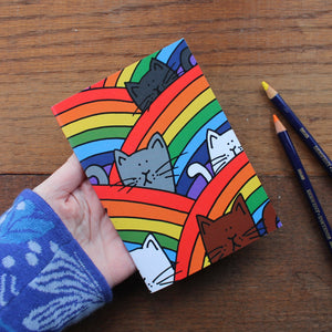Rainbow cats notebook by Laura Lee Designs in Cornwall