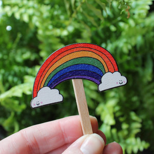 Wooden rainbow plant stick by Laura Lee Designs