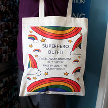 Load image into Gallery viewer, Superhero outfit rainbow tote bag for uniform. funny work bag by Laura Lee Designs in Cornwall