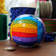 Load image into Gallery viewer, Rainbow yarn money box hand painted fine china by Laura Lee Cornwall