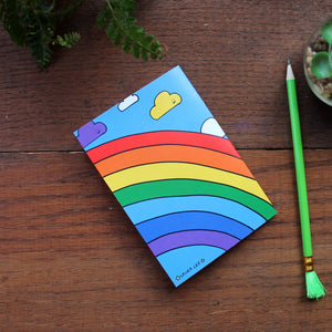 Rainbow dinosaur note book fun party bag fillers by Laura Lee Designs Cornwall