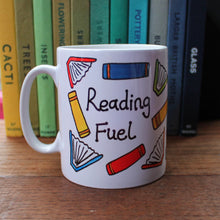 Load image into Gallery viewer, Colourful readers mug Reading fuel mug by Laura Lee Designs Cornwall