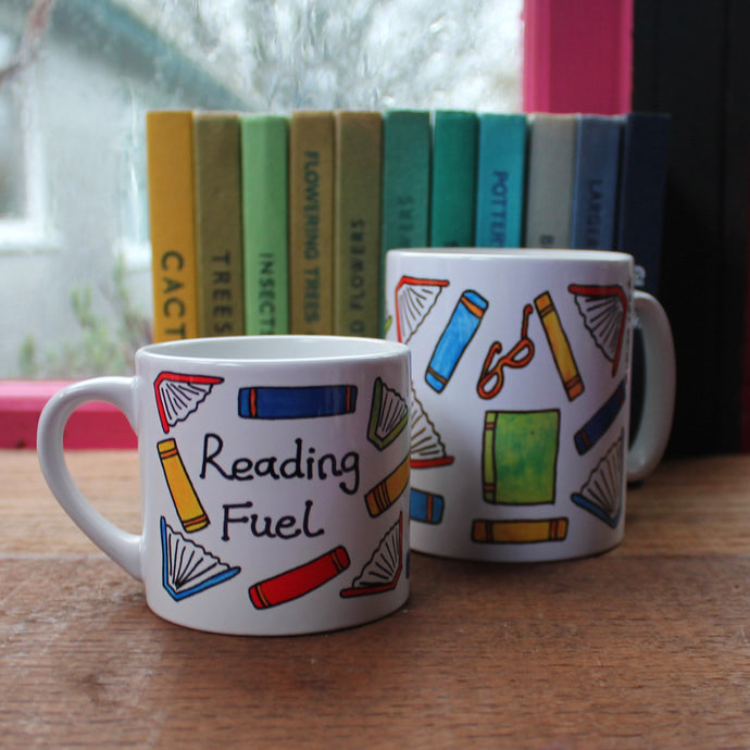 Reading fuel mug colourful books mug by Laura Lee Designs Cornwall