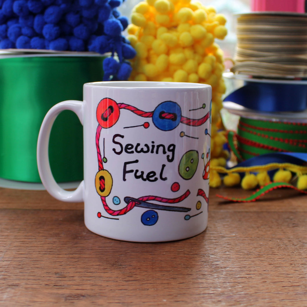 Colourful sewing machine sewing fuel crafters mug by Laura Lee Designs in Cornwall UK