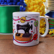 Load image into Gallery viewer, colourful sewing mug by Laura Lee Designs Cornwall