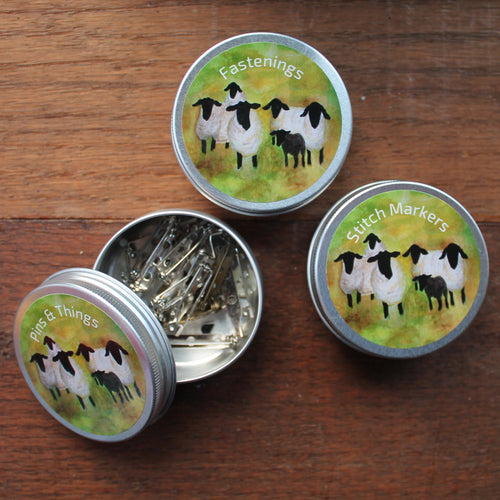 Sheep with their lamb knitters storage tins by Laura lee Designs in Cornwall
