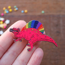 Load image into Gallery viewer, Punk spinosaurus rainbow dinosaur brooch by Laura Lee Designs Cornwall