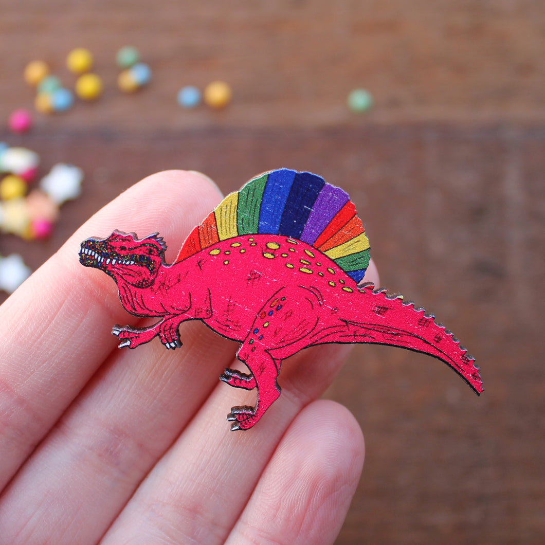 Punk spinosaurus rainbow dinosaur brooch by Laura Lee Designs Cornwall