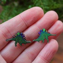 Load image into Gallery viewer, Rainbow stegosaurus earrings wood and stainless steel by Laura Lee Designs Cornwall