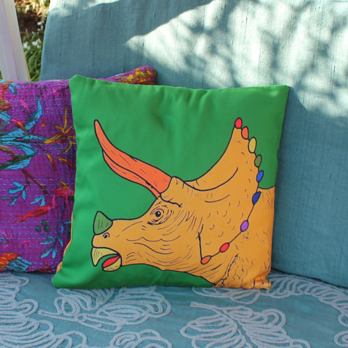 Rainbow dinosaur triceratops cushion by Laura Lee Designs in Cornwall