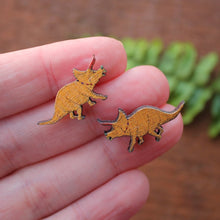 Load image into Gallery viewer, Yellow triceratops studs wood and surgical steel earring by Laura Lee Designs