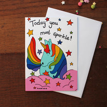 Load image into Gallery viewer, Unicorn rainbow greetings card by Laura Lee Designs in Cornwall