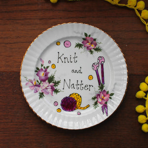 Knit and natter vintage display plate hand painted by Laura Lee Designs