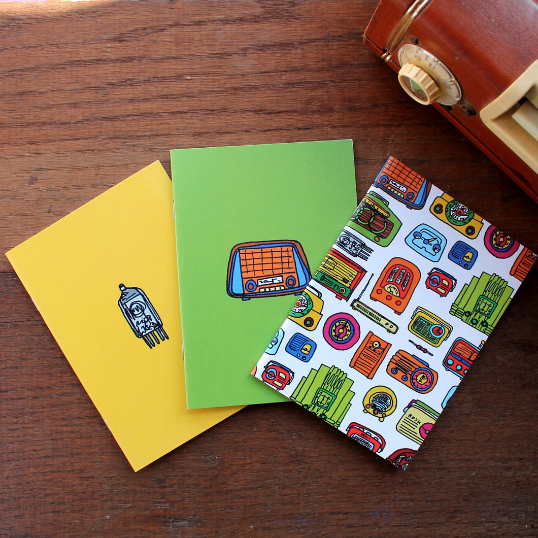 Vintage radio notebook set by Laura Lee designs Cornwall