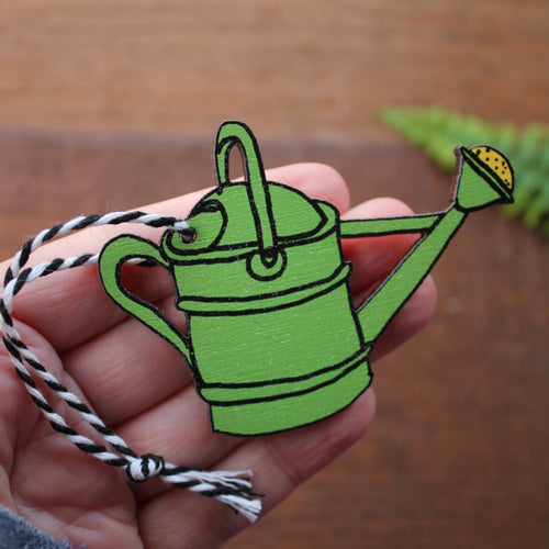 Green watering can gardener's ornament by Laura Lee Designs Cornwall
