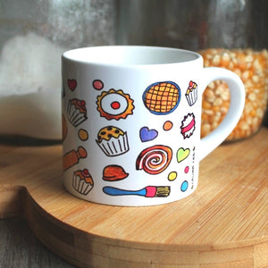 Bakers fuel mug colourful small coffee mug by Laura Lee Designs