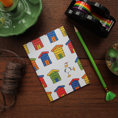 Colourful beach huts notebook by Laura Lee designs Cornwall