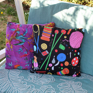 Sewing and knitting themed cushion by Laura Lee Designs