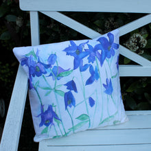 Load image into Gallery viewer, blue floral cushion watercolour by Laura Lee Designs in Cornwall