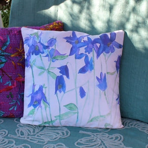 blue floral cushion watercolour by Laura Lee Designs in Cornwall