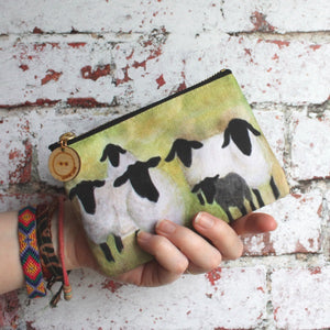 Suffolk sheep zipped purse craft storage bag by Laura Lee Designs Artist Cornwall