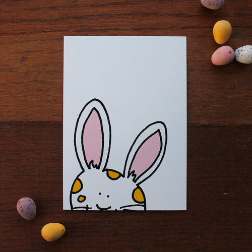 Peeking bunny postcard easter card by Laura Lee Designs Cornwall