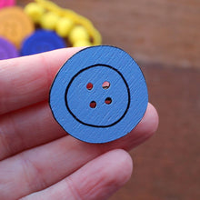 Load image into Gallery viewer, Forget me not blue button brooch by Laura Lee Designs in Cornwall