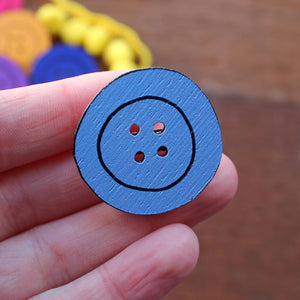 Forget me not blue button brooch by Laura Lee Designs in Cornwall