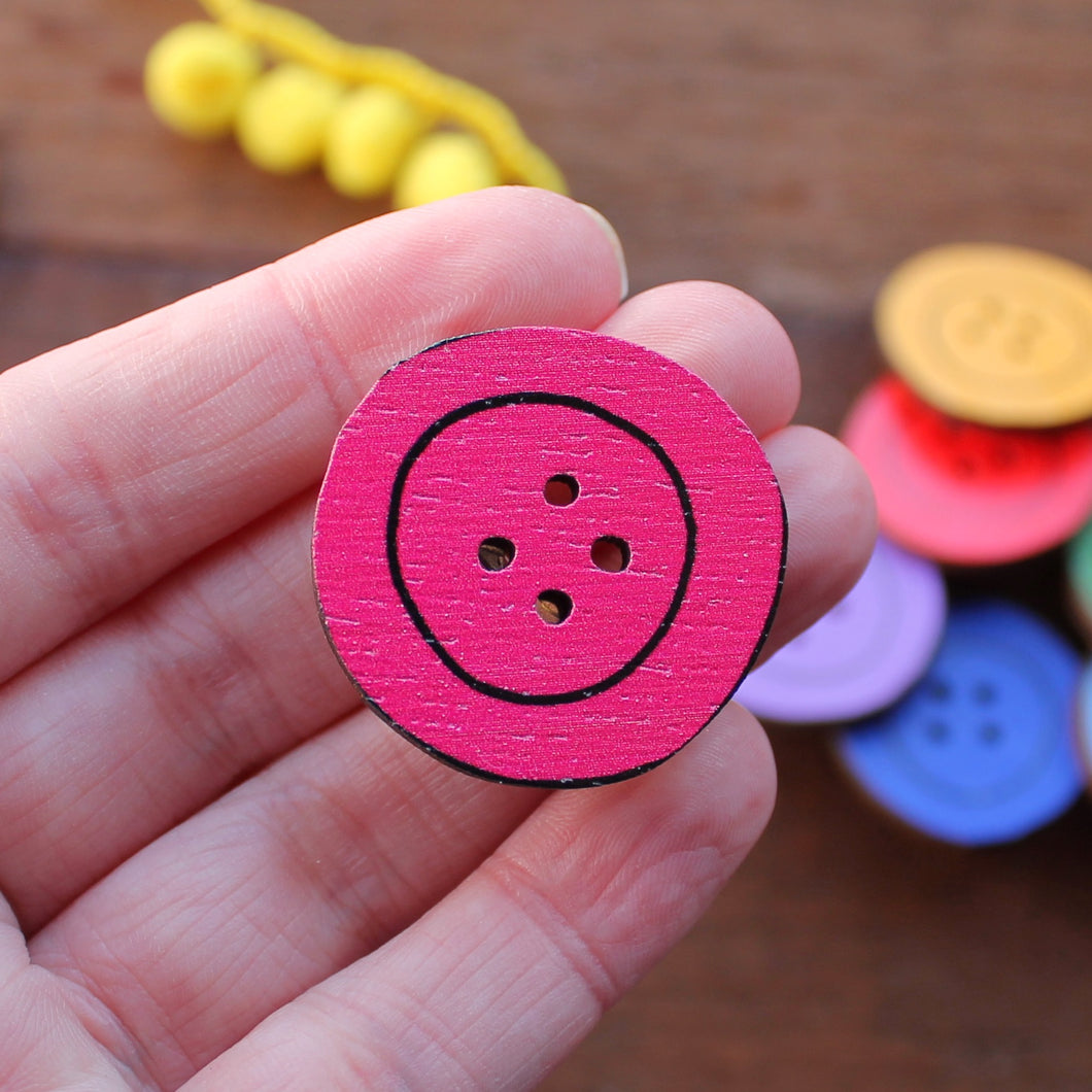 pink wooden button brooch by Laura Lee Designs in Cornwall